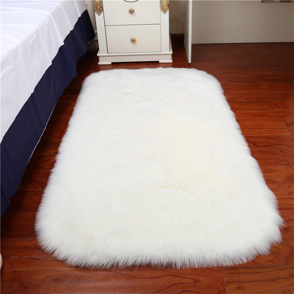 Rugs Carpets Rug Carpet Faux Sheepskin Carpet Fluffy Shaggy Rug Decorative Sofa Cushion 5-6cm Long Pile Carpet for Living Room Bedroom Floating Window Pad ( Color : White , Size : 5080cm )