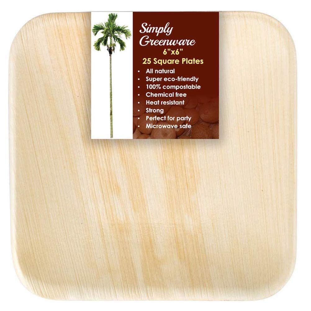 Amazon.com: Platos de hoja de palma. Platos cuadrados muy ...
