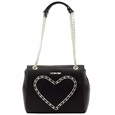 f46d6a52952 Amazon.com: LOVE Moschino Heart Chain Flap Bag, Black: Clothing