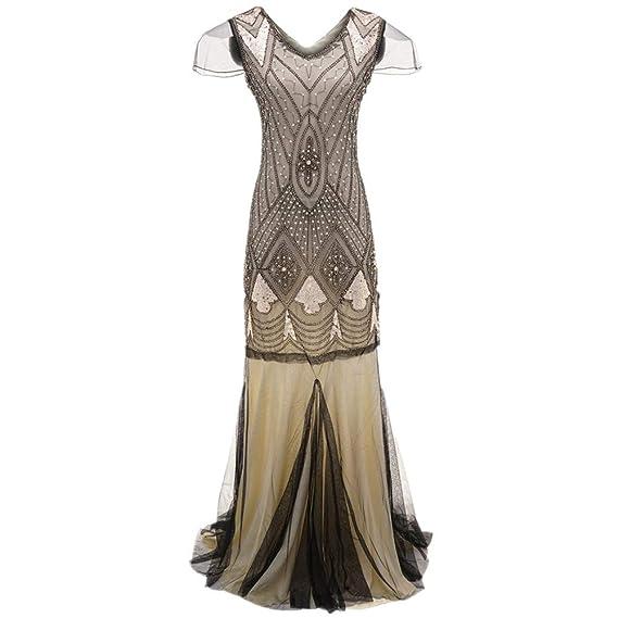 50b97ec99e1ec UFACE Robes Vintage Perle Paillette Maxi Femmes, Robe Vintage ...