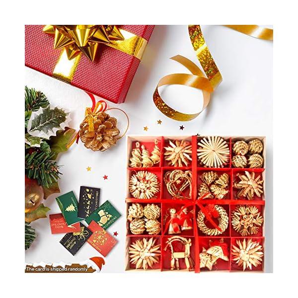 56 pezzi di paglia di decorazione dell'albero di Natale, ciondolo di ornamenti creativi da appendere alle forniture di artigianato natalizio Ornamenti decorativi da appendere 5 spesavip