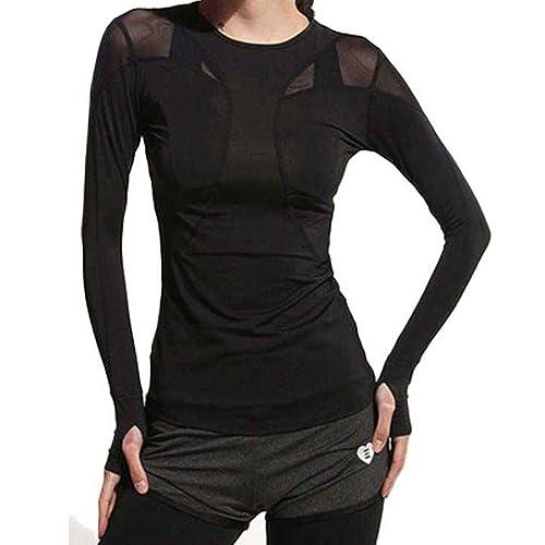 Camisas de yoga para mujeres, deportivas, remiendo de malla, mangas largas ajustadas, camisetas para...