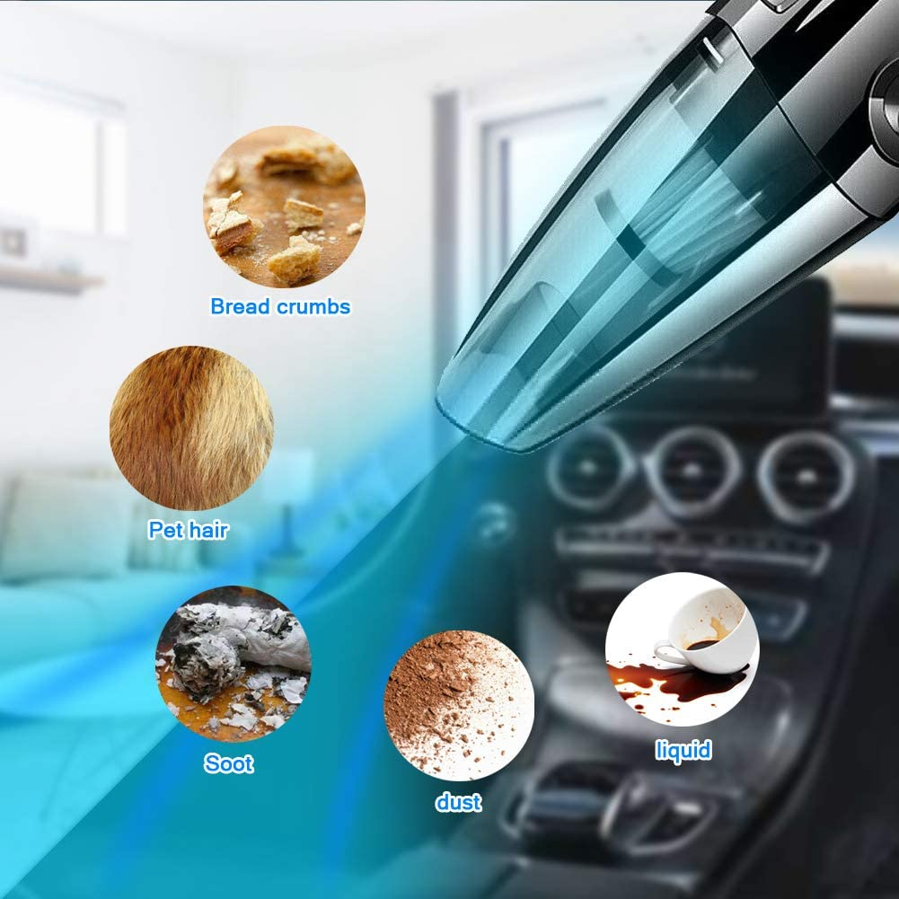 for Pet Hair CQWL Handheld Vacuum Cleaner Home and Car Cleaning 120W Rechargeable Wet and Dry Vacuum Cleaner Portable Hand Held Hoover Cordless with Powerful Suction