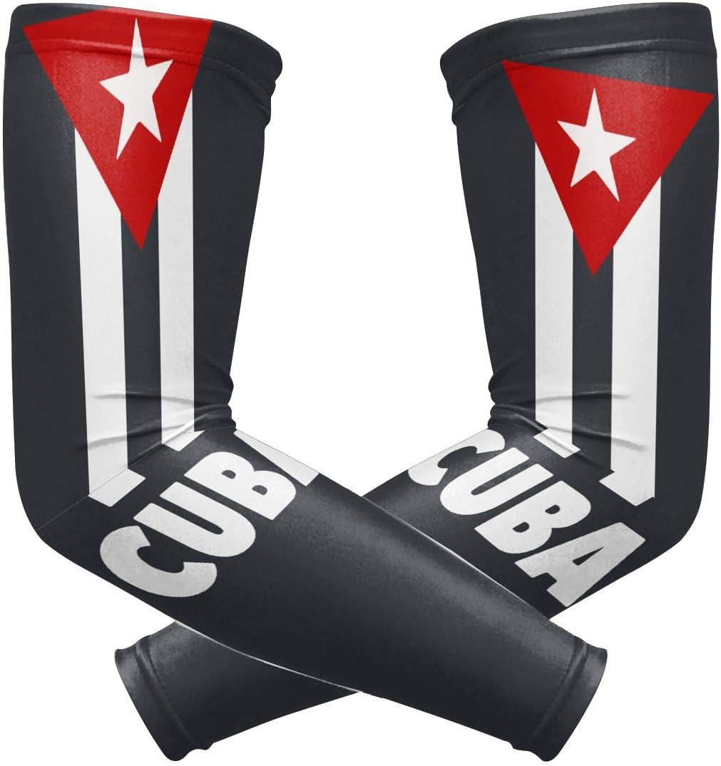 1 Pair J122 Cuban Flag Unisex Sunscreen Arm Guard Suitable for Motion Basketball