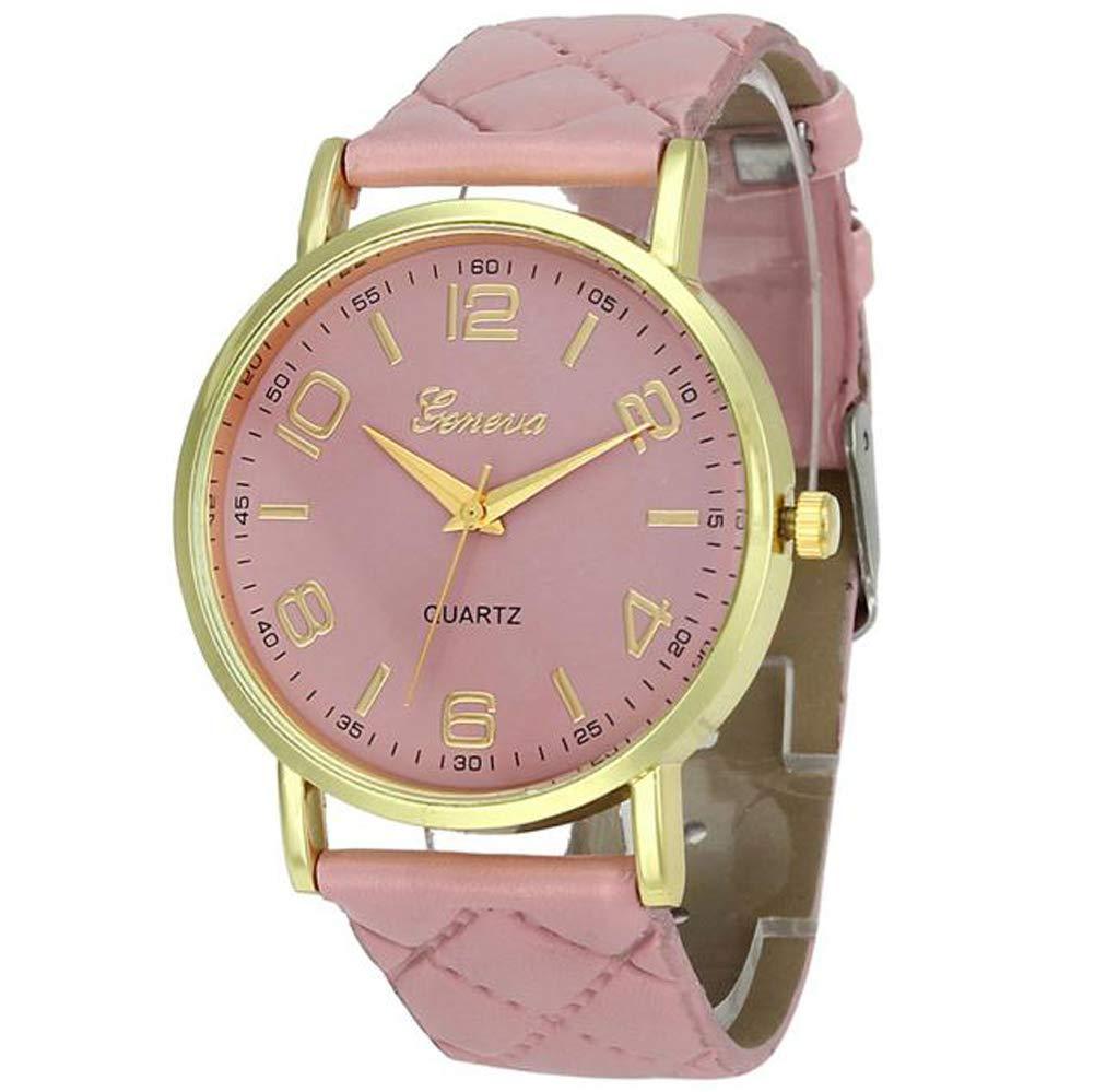 Womans Watch,Geneva Quartz Analog Bracelet Faux Leather Wristwatch Chimes Clock Axchongery (Pink)