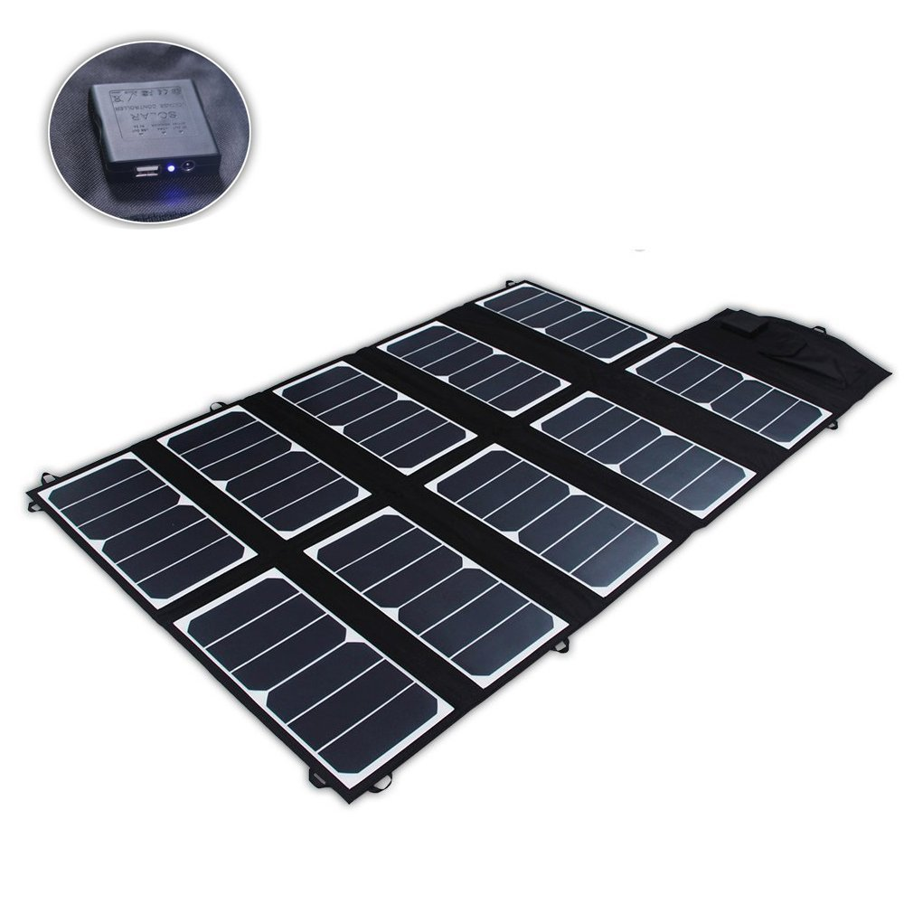 SUNKINGDOM™ 65W 2-Port DC USB Solar Charger with High-efficiency Portable Foldable Solar Panel PowermaxIQ Technology for iPhone, iPad, iPod, Samsung, Camera, and More (Black) by SUNKINGDOM