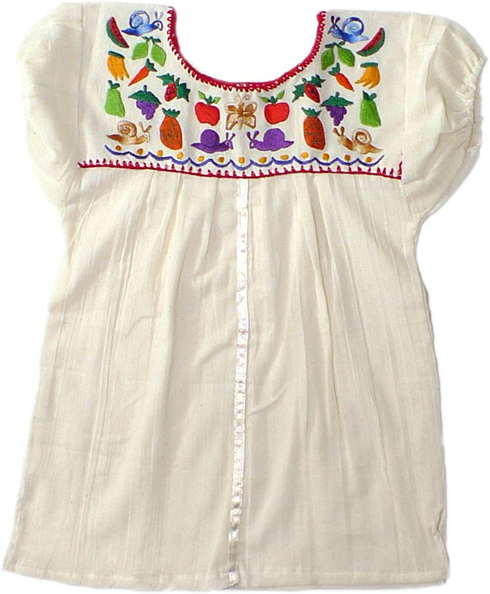 Mexican Clothing Co Girls Mexican Blouse Sleeveless Tehuacan Poplin