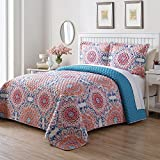 2 Piece Twin Unisex Bohemian Quilt Set, Traditional Mexican Style Medallion Pattern, Casual Lovely Vibrant Color Texture Design, Perfect Charming Blooming Bedding, Tangerine Orange, Aqua Blue Color