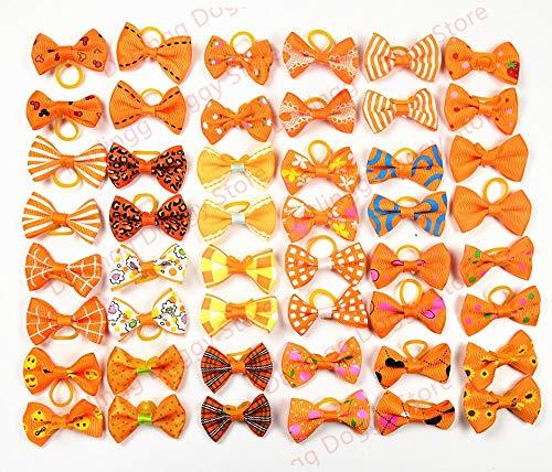 50 100pcs Autumn Pet Dog Hair Bows orange Dog Hair Accessories Dog Grooming Pet Supplies