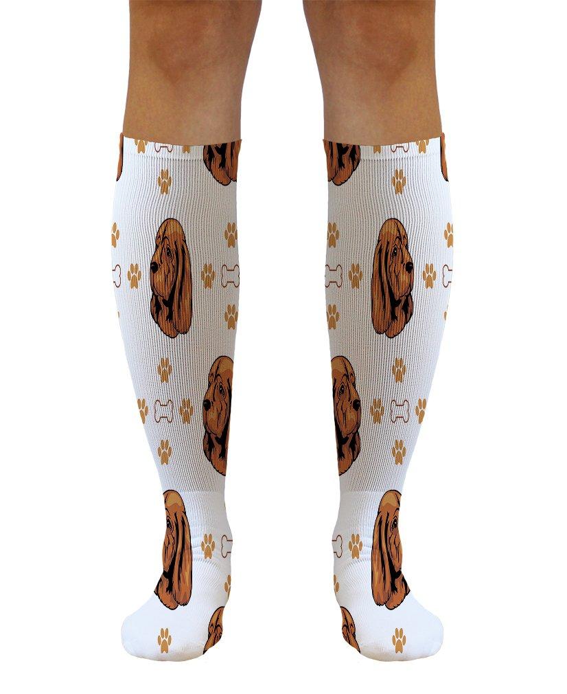 Funny Knee High Socks Sussex Spaniel Dog Bones Paws Tube Women & Men 1 Size 1