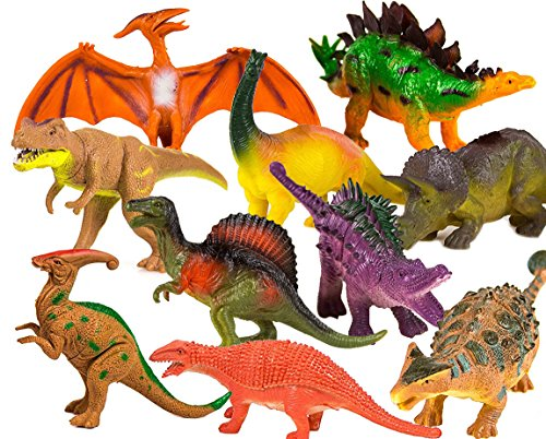 (Toysery Realistic Looking Dinosaurs Toys Set for Kids - Plastic Assorted Dinosaur Toys Figures - Pack of 10pcs, 5-Inches)