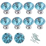HOSL 10PCS Lake Blue Diamond Shape Crystal Glass Cabinet Knob Cupboard Drawer Pull Handle/Great for Cupboard, Kitchen and Bathroom Cabinets, Shutters, etc (30MM)