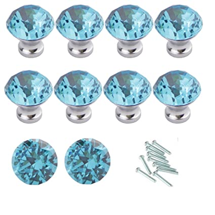 Attrayant HOSL 10PCS Lake Blue Diamond Shape Crystal Glass Cabinet Knob Cupboard  Drawer Pull Handle/Great