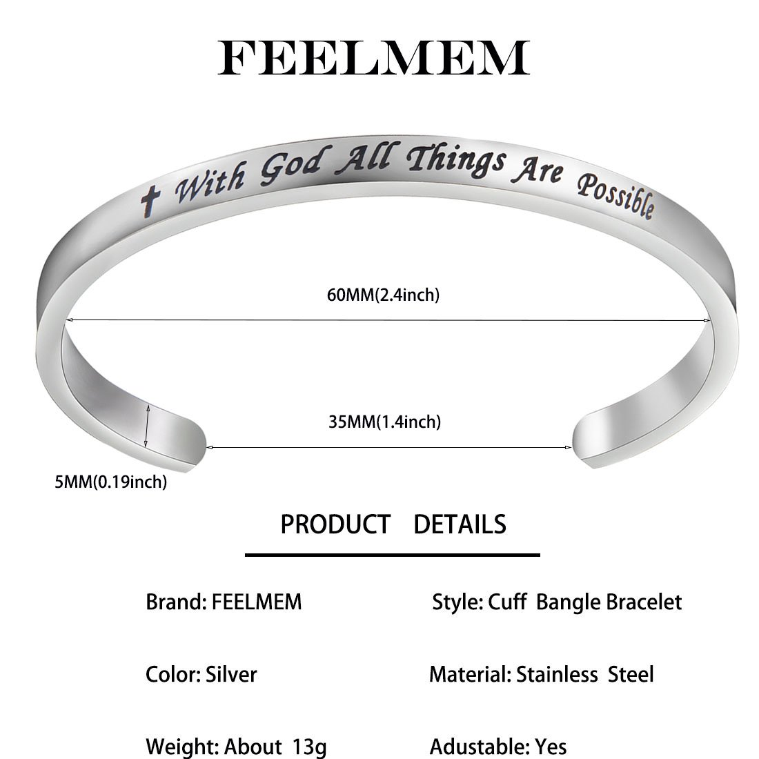 FEELMEM Matthew 19:26 With God All Things Are Possible Christian Jewelry Cuff Bangle Bracelet,Religous Faith Jewelry Inspirational Christian Gifts