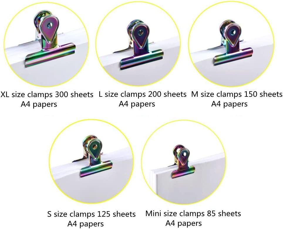40 X 20MM MINI FOLDBACK BINDER BULLDOG PAPER FILING CLIPS ASSORTED COLOURS CHIC