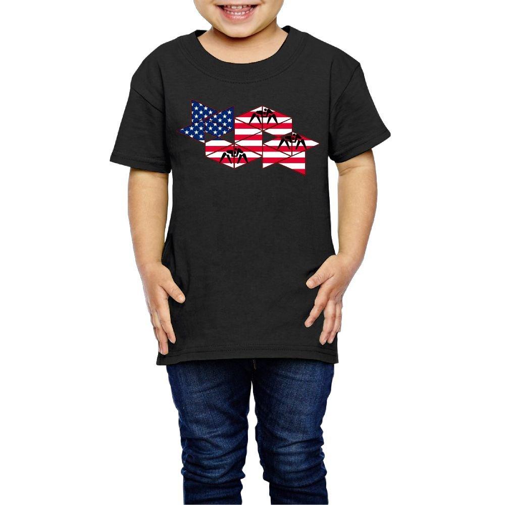 DSEPAA American Flag Wrestling Boys' Girls' Cotton Short Sleeve T-Shirt 5-6 Toddler