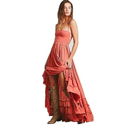 b0082262307 Amazon.com  Sunbona Women s Sexy Fashion Solid Halter Neck Tank Crop  Strappy Vest Dress Casual Summer Party Boho Beach Long Maxi Dress (Asian  Size S