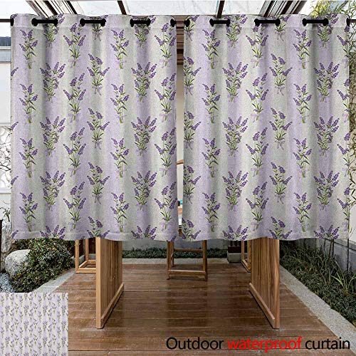 (Outdoor Curtain Panel for Patio,Lavender,Stripes and Flowers with Ribbons Romantic Country Spring Season Inspired Design Art,Waterproof Patio Door Panel,K183C115 Purple )