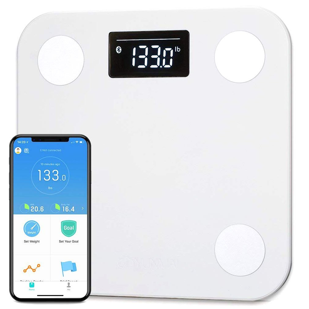 Yunmai Smart Bluetooth Scale, Body Fat Digital Weighing Weight Scale with Free APP Body Composition BMI Monitor Analyzer with Large Display, Work with iPhone 8/iPhone X(10)