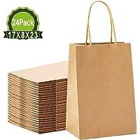 Jobary Bolsas de papel de estraza marrón 24