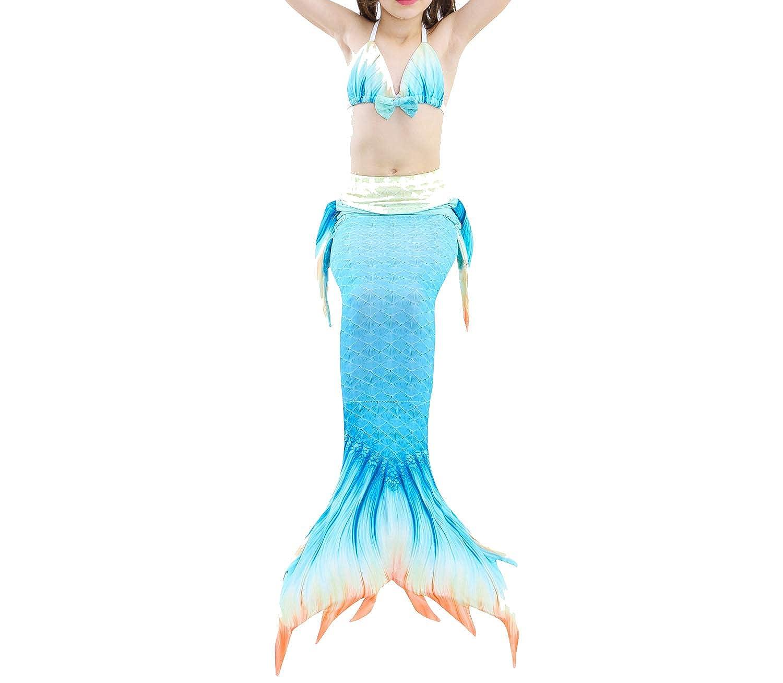 YiYaYo 3 Pcs Mermaid Tail for Baby Girls Swimming Mermaid Bathing Suits Swimsuit Bikini Set 3-12 Years