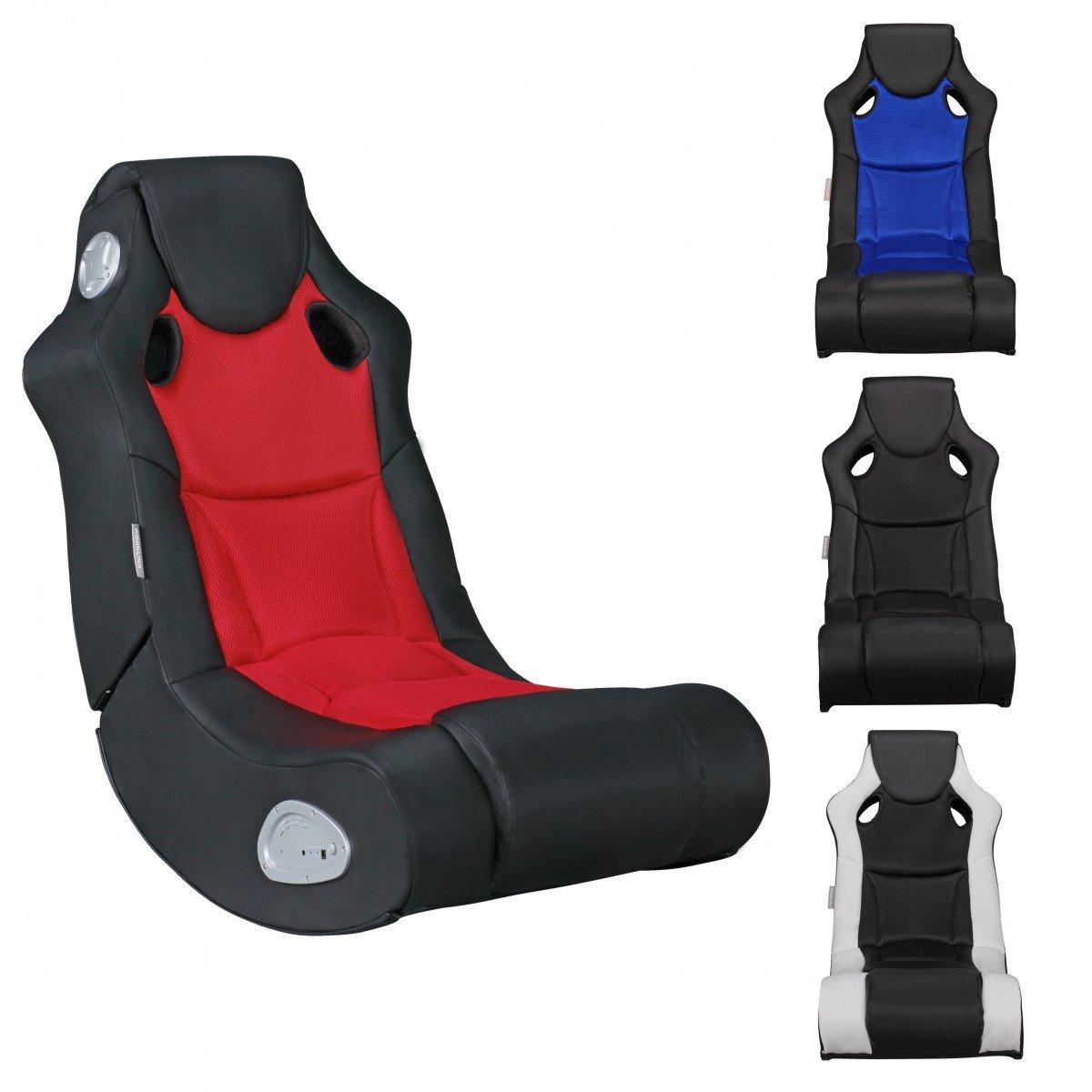 FineBuy SCOOT - Fauteuil multimédia fait de faux cuir | Chaise de jeu avec haut-parleurs et caisson de basses | Chaise