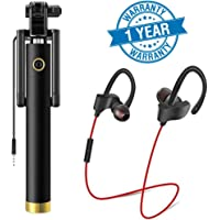 Lambent Portable and User Friendly Locust Selfie Stick with Rt-558 Sports Wireless Bluetooth Headset with Built-in Microphone for All Smartphones