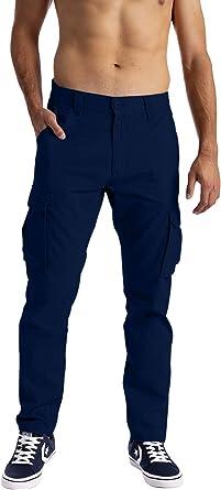 Pantalones cargo para hombre, 6 bolsillos, 100% algodón, pantalones de trabajo: Amazon.es: Ropa y accesorios