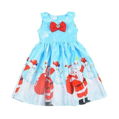 Winsummer Toddler Kids Baby Girl Christmas Dress Costume Xmas Santa Dress Sleeveless Bowknot Princess Girl Dress