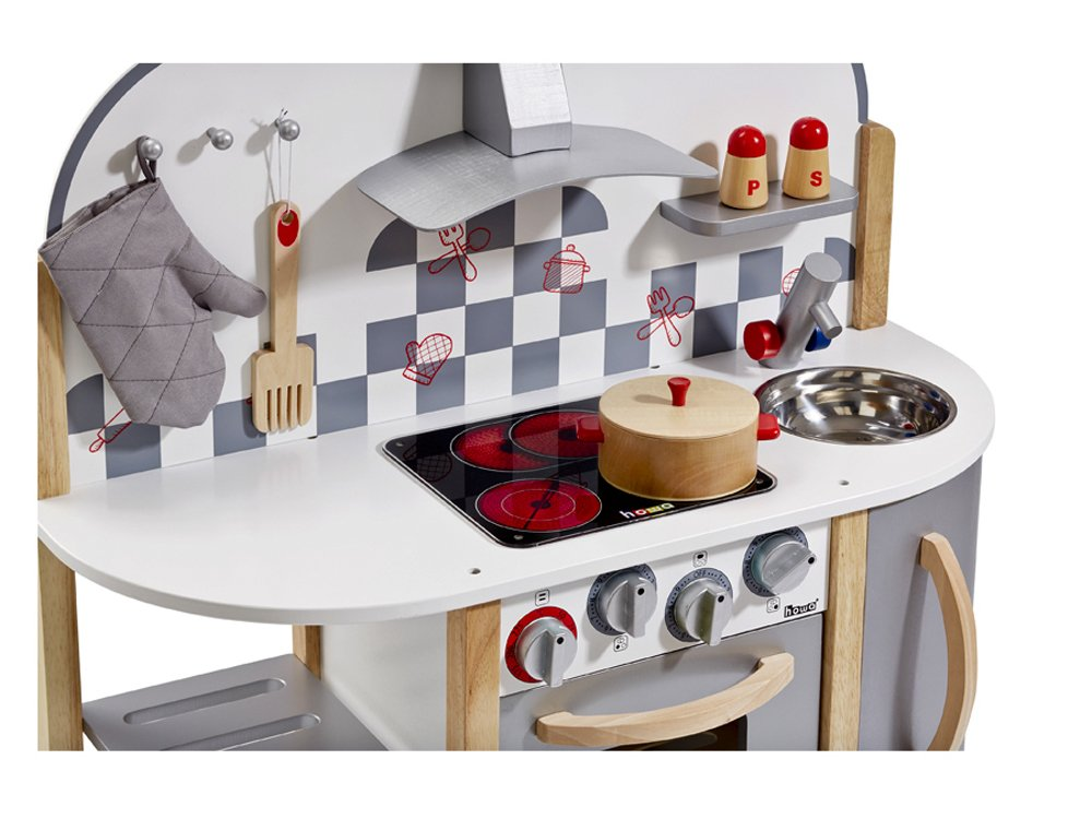 Amazon.com: Howa Wooden Toy Kitchen with 5 Accessories 4818: Toys ...