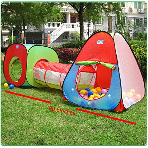 Childrens Play Tent - Roadacc 3-Piece Children Play Tent Set of Square Cubby, Triangle Cubby and Spring-Pop Tunnel