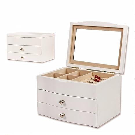 DADAO-Caja de joyas, joyero, simple, de madera, multi-capa