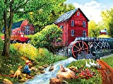 Playing Hookey at the Mill 1000 Piece Jigsaw Puzzle by SunsOut - 1000 Piece Jigsaw Puzzle - Artist: Tom Wood - Finished Size: 20x27 - 100% of SunsOut products are made in the USA on recycled board and Eco-Friendly, Soy-based ink - SunsOut Puz...