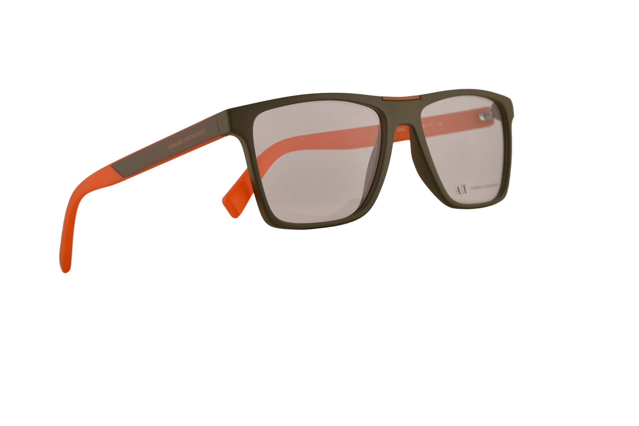 Armani Exchange AX3055 Eyeglasses 55-16-145 Matte Army Green w/Clear Demo Lens 8272 AX 3055 by A|X Armani Exchange
