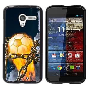 Balón de fútbol llameante - Metal de aluminio y de plástico duro Caja del teléfono - Negro - Motorola Moto X 1 1st GEN I