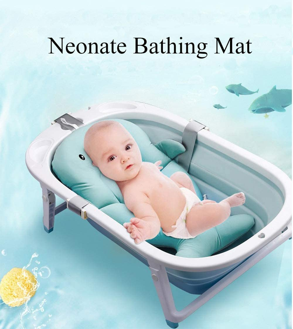 SPRICHIC Baby Bath Tub,Infant Bather Bath Cushion for Newborn,Toddler Bathtub Sling Support,Baby Shower Gifts,Babies Girl and Boy Wash Seat,Sink Bath Anti-slip Pad,Quick Drying Mat for Infant Bathing Blue-Bear