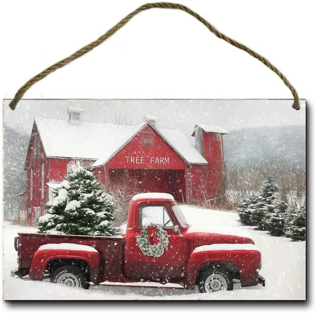 MHreat Wooden Sign Red Truck Christmas Tree Fresh Farm Front Door Wall Holiday Decoration Style7 8x12inches