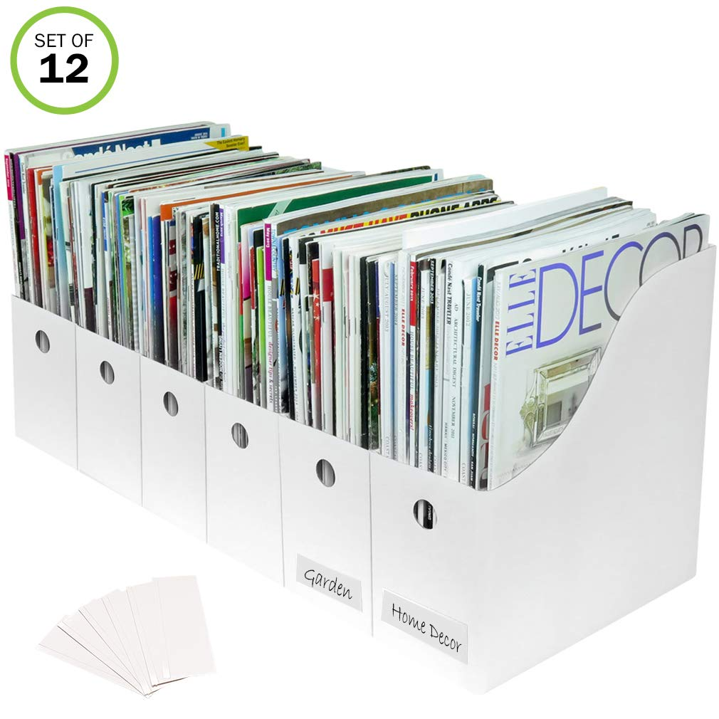 Evelots Magazine File Holder-Organizer-Full 4'' W-White-with Labels-Set/12 by Evelots