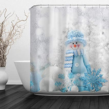 ALFALFA Happy Snowman Christmas Shower Curtainswinter Holiday Merry Season Eve Xmas New Year