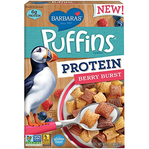 Barbara's Bakery Puffins Protein, Berry Burst, 10 Ounce (Pack of 12)