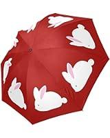 InterestPrint Stylish Cute White Bunny Rabbit Red Foldable Travel Rain Umbrella