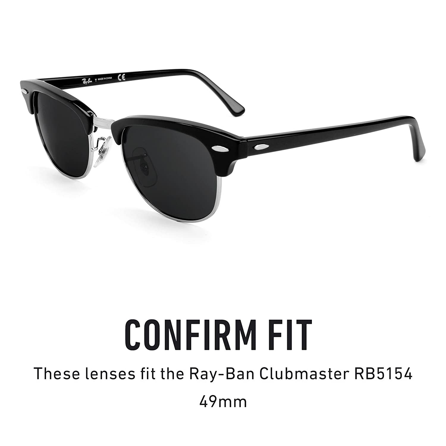 f93301eccc8 Revant Replacement Lenses for Ray-Ban Clubmaster RB5154 49mm Elite Adapt  Grey Photochromic  Amazon.co.uk  Clothing