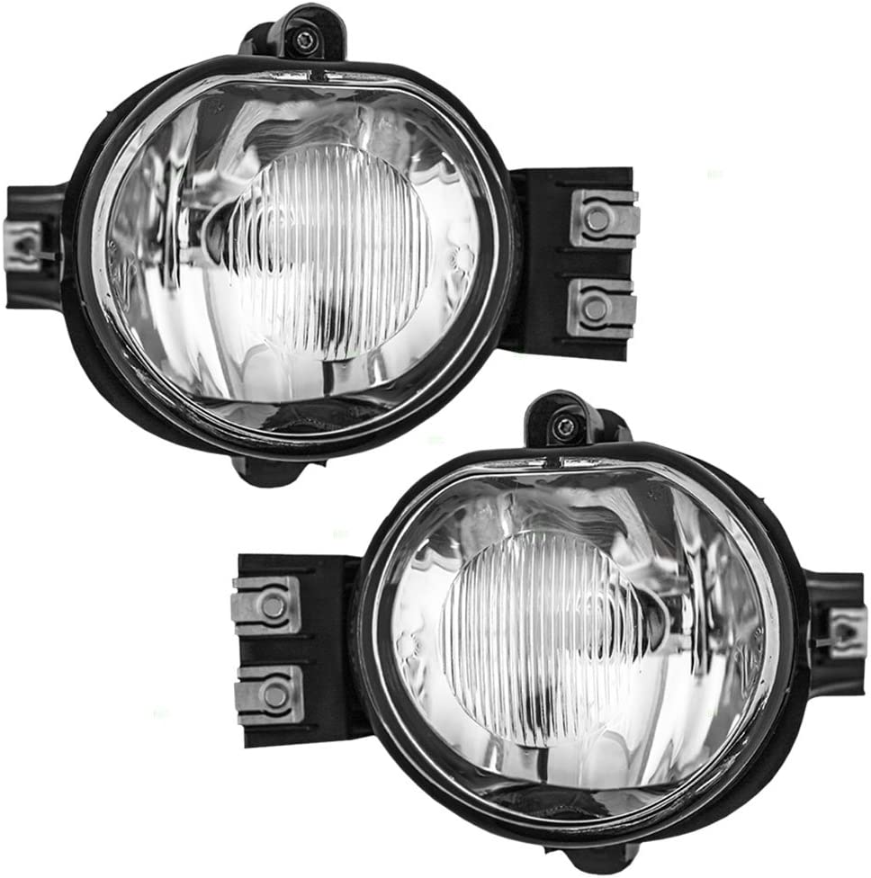 Driving Fog Lights with Clear Lens for 02-08 Dodge Ram 1500 03-09 Dodge Ram 2500 03-10 Dodge Ram 3500 Fog Lamps for Passenger and Driver Side with OE Part # 55077474AE 55077475AE
