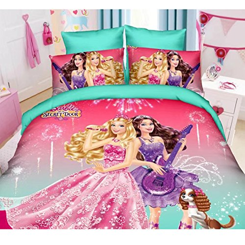 3 Piece Kids Girls Teal Blue Pink Barbie Themed Duvet Cover Twin Set, Pretty Barbie and The Secret Door Bedding Doll Movie Themed Girly Guitar Dog Beautiful Dresses Shimmer Shine Glam, Polyester