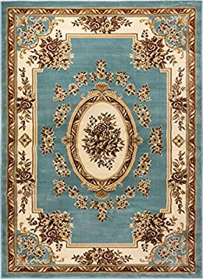 Well Woven Pastoral Medallion Brown French Area Rug European Floral Formal Traditional Area Rug Easy Clean Shed Free Modern Classic Contemporary Thick Soft Plush Living Dining Room Rug