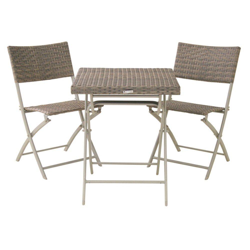 Balkonserie Mirador grau 3-teilig, Set bestehend aus: 2 x Klappstuhl und 1 x Klapptisch