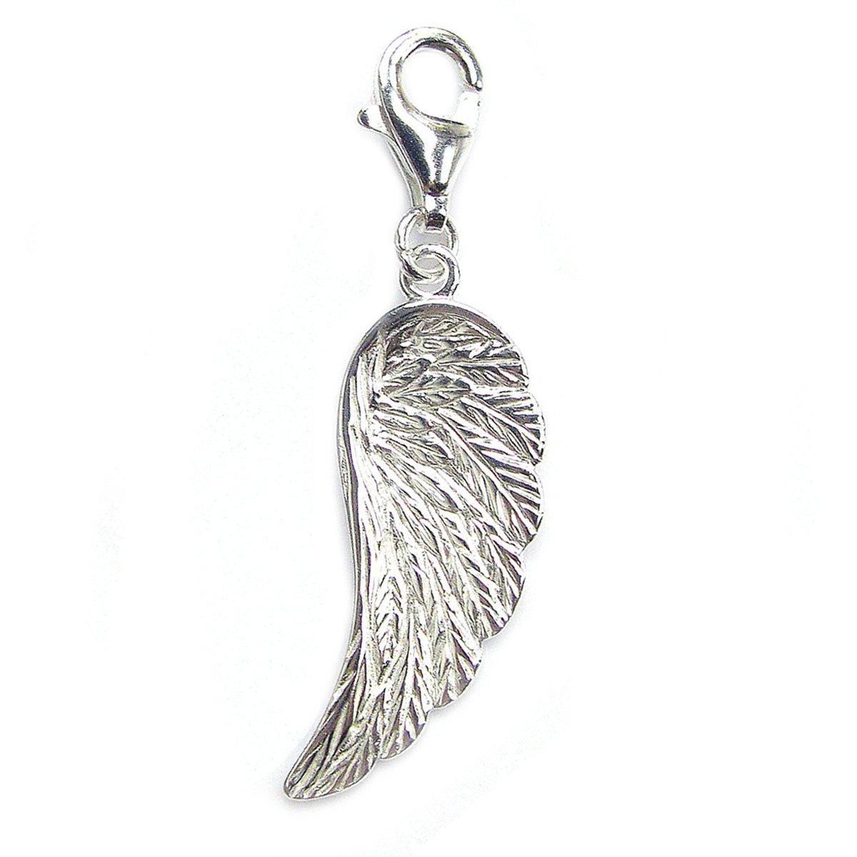 Queenberry Charm pendentif Aile d'ange ou plume en argent 925 avec fermoir mousqueton pour bracelet à charms à clipser PA1692X1