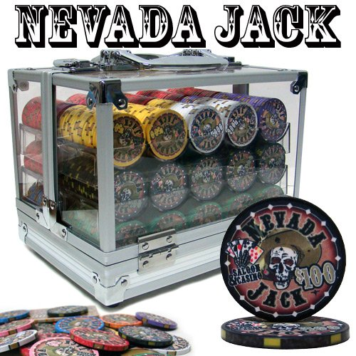 Gram Sets Poker Chips - 600 Ct Nevada Jack 10 Gram Ceramic Poker Chip Set w/ Acrylic Case & Chip Trays by Brybelly