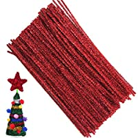 Pipe Cleaners Chenille Stems for DIY Art Craft 6 mm x 12 Inch 100 Pieces,Red
