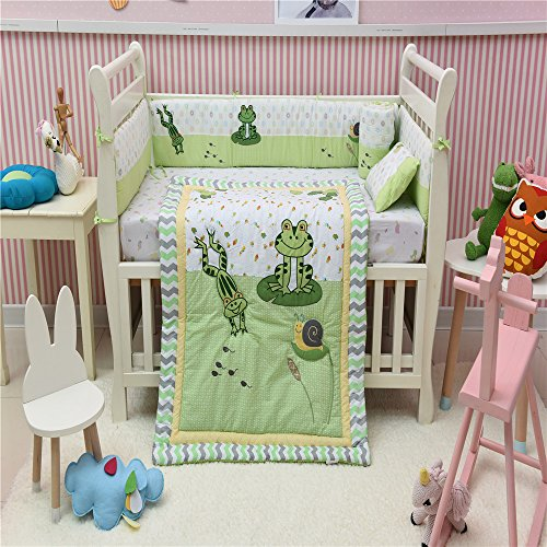 Cotton Crib Bedding set, Frog Snail Lily Pad Crib Bedding Set 4 PCs Green (Frog Crib Bedding Sets)